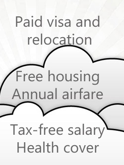Infographic: paid visa, relocation, free housing, health insurance, airfare